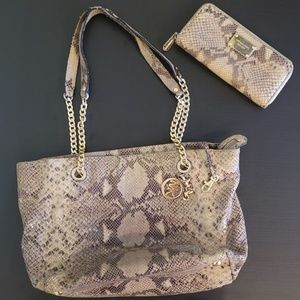 Michael Kors matching snake set with MK duster bag